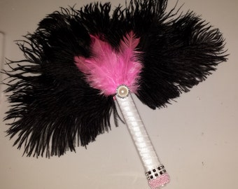 Pink and Black Damask Black Ostrich Feather Bridesmaid fan