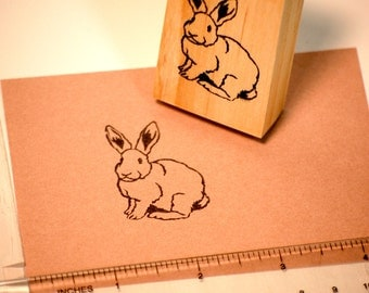 Hand carved rubber stamp - rabbit design.