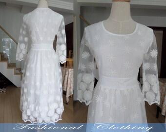 white dress spring dress autumn dress summer dress women clothing women dress long dress party dress Date dress