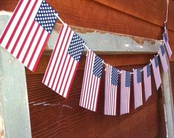 Patriotic Handmade American Flag Banner Garland.