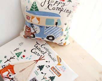 Camping Design Panel Cotton Fabric - 2 Designs Package