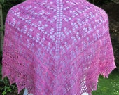 Beaded Lace Knitted Shawl Kit (Canterbury Bells) pattern/instructions, magenta cashmere, alpaca, silk yarn / 'silver' lined beads UK seller