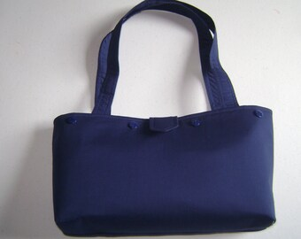 Navy Blue Purse with buttons for Interchangeable Covers
