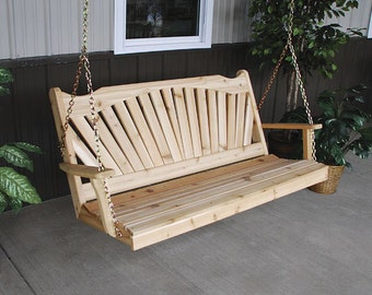 Red Cedar Fanback 6ft. Outdoor Porch Swing