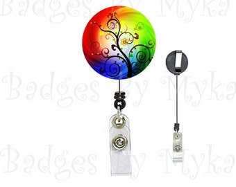 Retractable ID Badge Holder - Colorful Tree 2