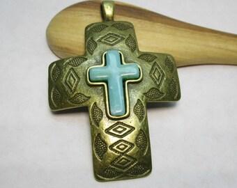 Pewter Brass Rustic Cross Pendant with Howlite Southwestern Cross