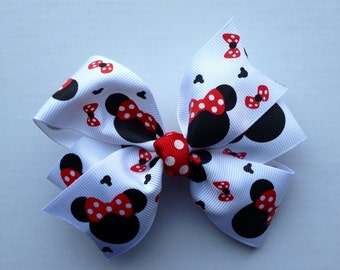 SALE ~ Minnie Mouse Hair Bow red and black white pinwheel hairbow