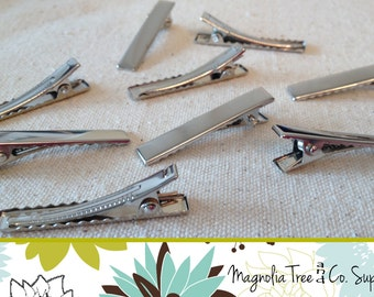 BULK Alligator clip with teeth, Stainless Steel, hair bow clip, flower clip, silver alligator clip, heavy duty, 40mm, 4cm - 50 pcs (HF202)