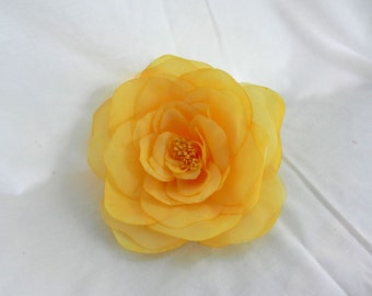 Large Yellow Soft Organza Flower with Pin Back perfect for Bridal Purses and Hats