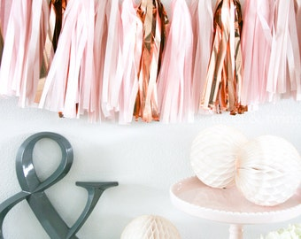 ROSE GOLD tassel garland party decoration // wedding decor // bridal shower