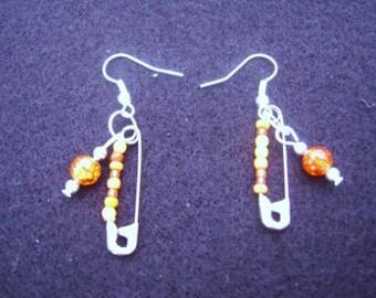 Orange Safety Pin Earrings