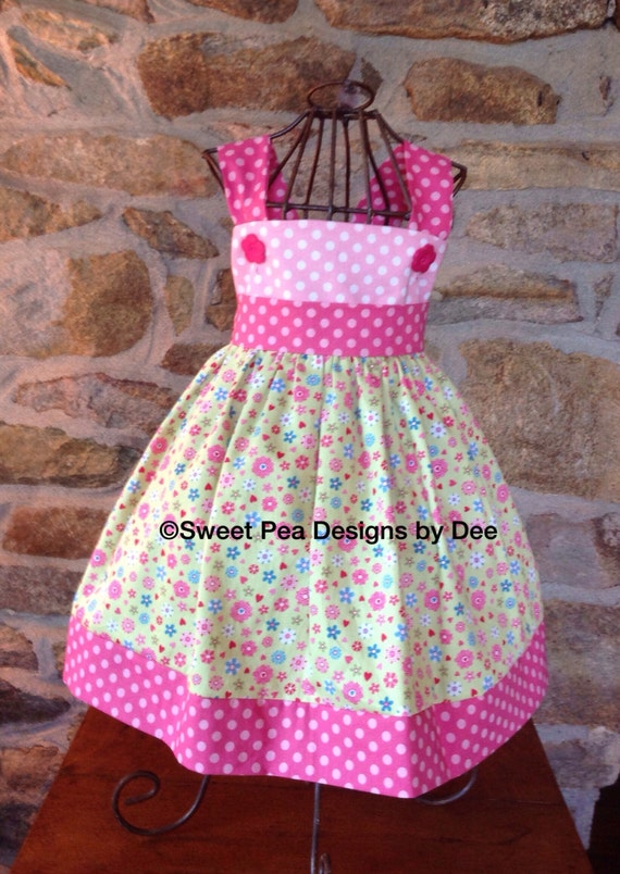 Toddler sundress,bright pink polka dots, lime green floral