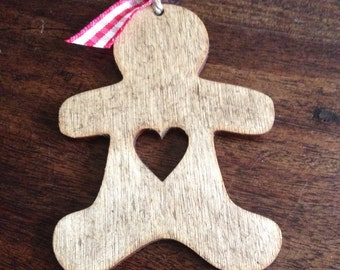 Handmade wooden gingerbread man decoration hanging christmas tree ornament plaque