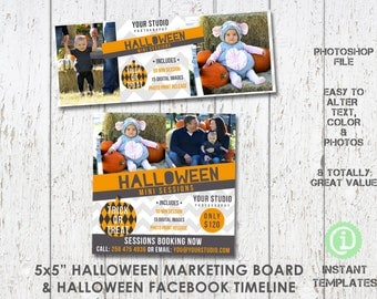 Halloween Mini Sessions Marketing Board and Facebook Timeline Bundle, Templates - BM2F1H001, You'll receive 2 psd files