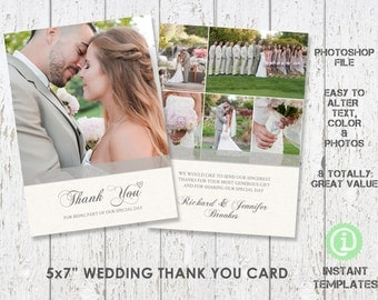 "Wedding Card Template, Thank You Card 5""x 7"" Photoshop Template - C1W002"