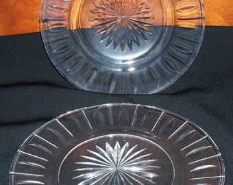 "REDUCED: Vintage PAIR Stuart Crystal Clear Cut Crystal  Individual Dessert or Salad Plates - HAMPSHIRE  Pattern - 7"" Round"