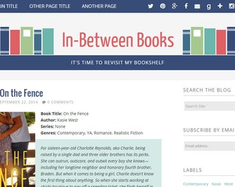 Blogger Premade Template - In-Between Books - Blog Design
