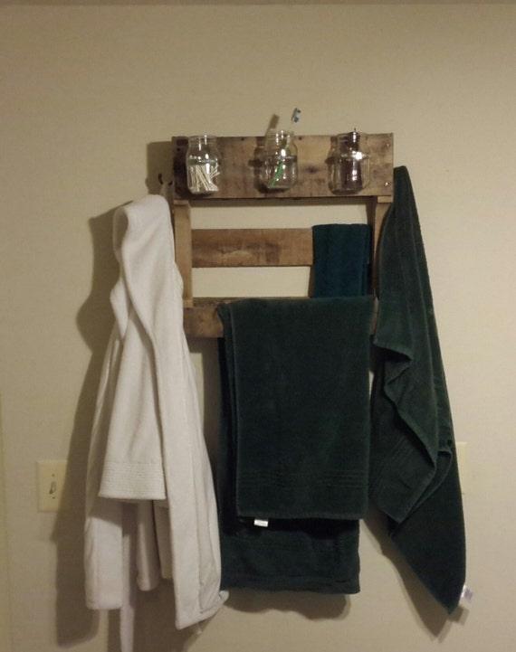 items similar to pallet wood towel rack with mason jars. Black Bedroom Furniture Sets. Home Design Ideas