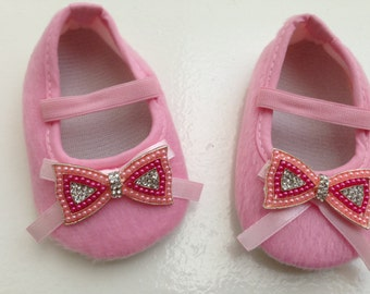 Pink baby shoes--pink crib shoes--newborn pink shoes
