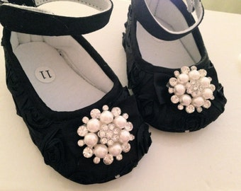 Black satin rosette baby shoes --black crib shoes-- newborn rosette shoes