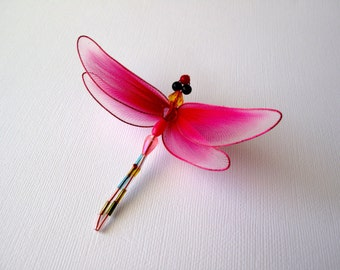 Hot Pink Dragonfly Brooch