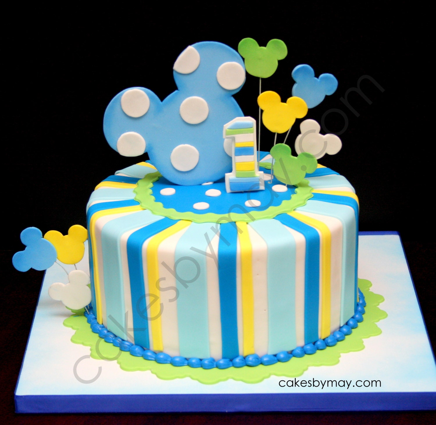 Cake Toppers Baby Mickey : Baby Mickey Inspired Fondant Cake Topper and Decorations