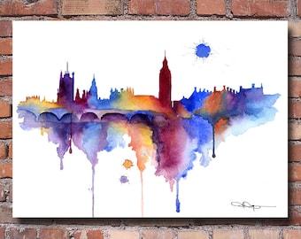 London Skyline - Watercolor Art Print - Wall Decor