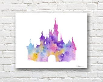 Cinderella's Castle Art Print - Abstract Watercolor Painting - Wall Decor