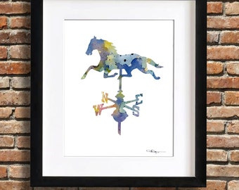 Vintage Horse Weathervane Art Print - Abstract Watercolor Painting - Wall Decor
