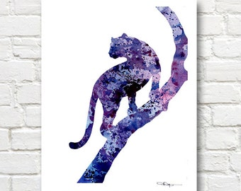 Panther - Art Print - Abstract Watercolor Painting - Wall Decor