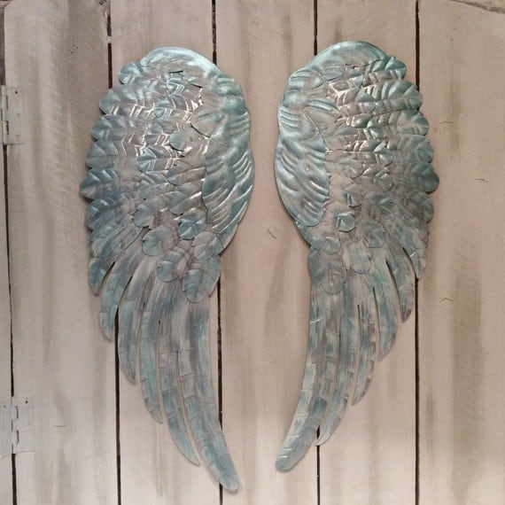 Large metal angel wings wall decor distressed silver tiffany for Angel wall decoration