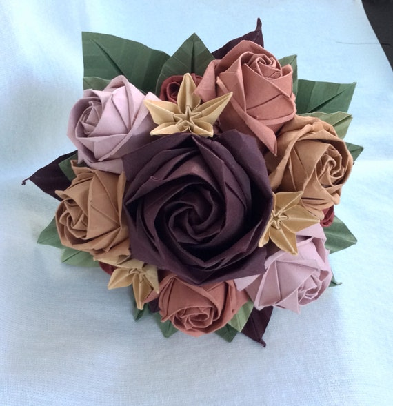 Autumn Origami Bouquet Complex roses and star flowers - photo#1