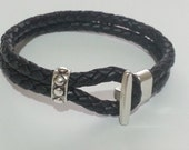 FREE - mail bracelet braided leather double zipper pin / Men