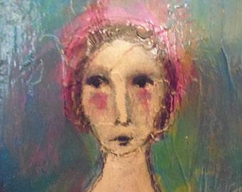 Original folk art Painting, girl, portrait, folk art, texture,expression, primitive.