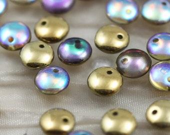50pcs 6mm Golden Rainbow Lentils Czech Glass Beads - new!!!