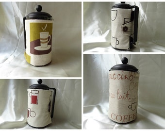 cafetiere cosy in a variety of  limited edition coffee themed fabrics