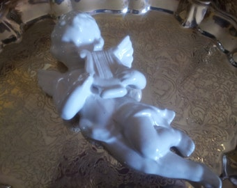 "Small White Ceramic Angel Playing Harp.....8"" in length"