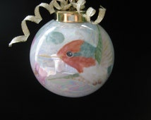 Porcelain Hummingbird Ornament  Round ,  Ceramic Pottery ; Hand Painted