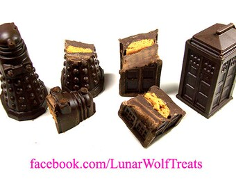 Filled chocolate T.A.R.D.I.S. and Dalek sets, multiple fillings to choose from!
