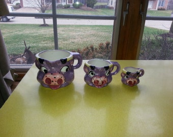 Antique Set of THREE Thames Purple Cow Measuring Cups From Japan 1930s