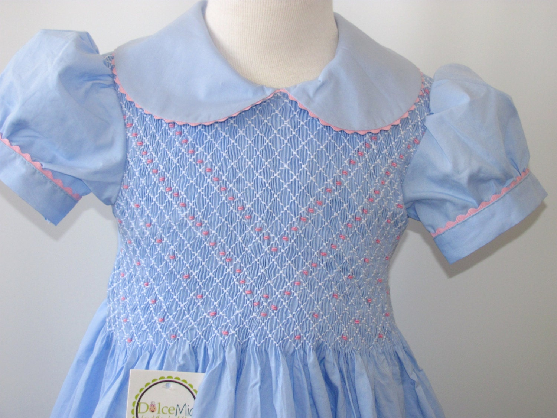Smocked Dresses Girls Smocked Dresses Light Blue Fabric Szs