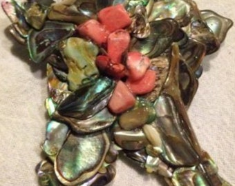 Vintage Abalone Coral Pendant Brooch Handmade Silver Genuine Stones Costume Jewelry Summer