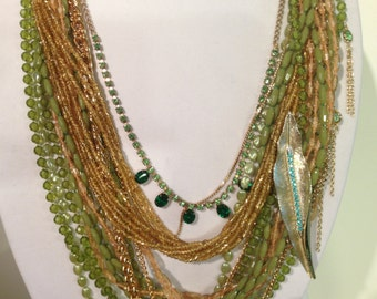 NECKLACE - Vintage Assemblage Green Gold Bib Necklace Rhinestones 1950 Swarovski Crystal Handmade OOaK Free Shipping WildRosesVintage  SALE