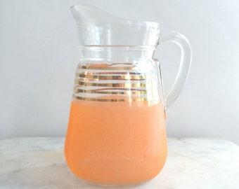 French vintage pitcher, glass pitcher, vintage pitcher, orange pitcher, gold pitcher
