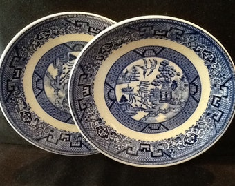 Vintage Blue Willow Homer Laughlin Plates <> Two Saucers <> Hand Painted <> EXCELLENT CONDITION <> 1958