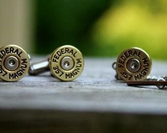 Bullet Cufflinks & Tie Tac Set - 357 Magnum - Brass Shell Casings - Wedding Accessories - Ammunition Jewelry - Mens Bullet Jewellery