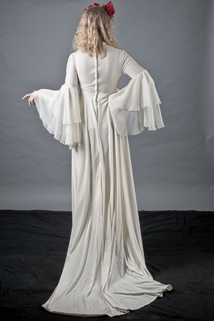 Rare 70s Bell Sleeve Boho Wedding Dress Long By Cultscollxtion