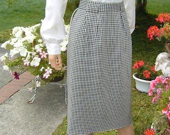 80s Designer Jones New York Checkered Lined Straight Skirt