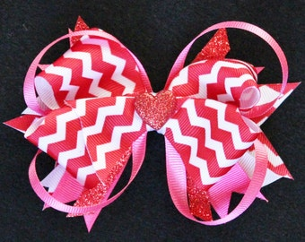 Valentine's Day Red and Pink Chevron Heart Stacked Boutique Hair Bow