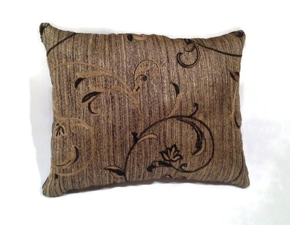 Decorative Throw Pillow Black and Gold Floral Design